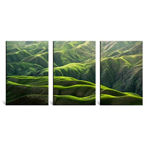 3 Piece Digital Painting Prints Majestic Natural Landscape Triptych Canvas Series Abstract Green Hills Canvas Prints Wall Art for Living Room Bedroom Kitchen Office Decorations -