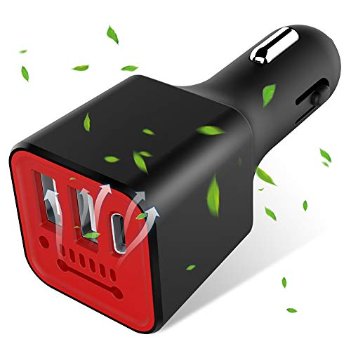 Car Charger Flush Fit 3.1A Dual USB & Type C Port, Runostrich Anion Air Purifier Universal Charger Compatible iPhone Xs XS Max XR X 8 7 Plus, iPad Pro Air Mini, Galaxy S9 S8 S7 S6 Edge Note (Black)