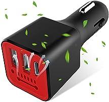 車の充電器3.1A Type C 車載空気清浄機 マイナスイオン発生 車用 イオン発生器 イオナイザー アロマディフューザー スマホ給電(黑赤)