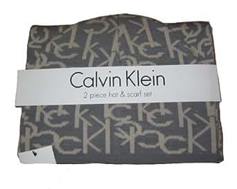 Calvin Klein Hat and Scarf Set (Grey/Mushroom)