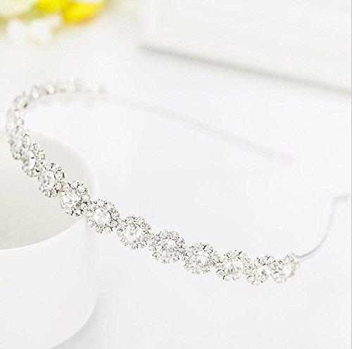 Ammei Bridal Headpiece Wedding Headband with Crystal and Ribbons Hair Jewelry (Silver Headband)