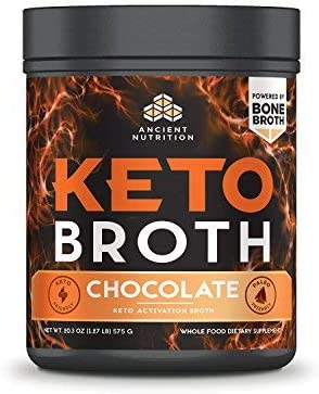 Ancient Nutrition KetoBROTH Powder, Keto Diet Supplement, High Quality Fats, MCT Oil, Protein, Plus Caffeine and B12 for Ketosis and Energy, Chocolate, 20 Servings, 20.3 oz