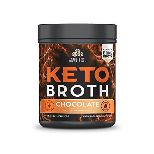 Ancient Nutrition KetoBROTH Powder, Keto Diet Supplement, High Quality Fats, MCT Oil, Protein, Plus Caffeine and B12 for Ketosis and Energy, Chocolate, 20 Servings, 20.3 oz by Ancient Nutrition
