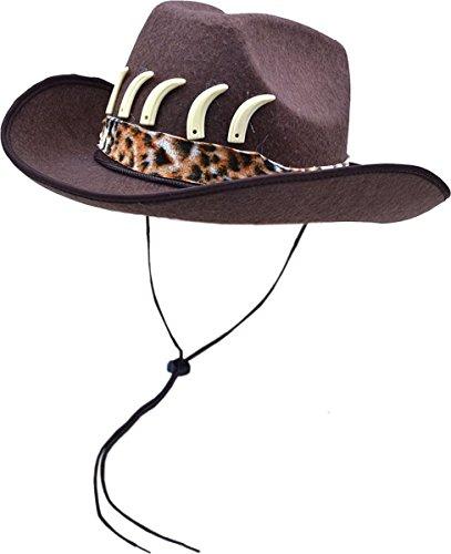 [Cowboy Fancy Dress Party Adventurer Style Leopard Print Finish Hat Brown] (Leopard Cowboy Hat)