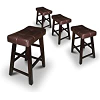 Set of 4 29 Dark Espresso Wood Bar Stools with Bonded Faux Leather Seat