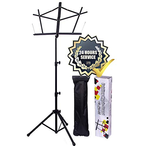 GLEAM Music Stand Bold Pipe Folding Music Holder with Carrying Bag ()