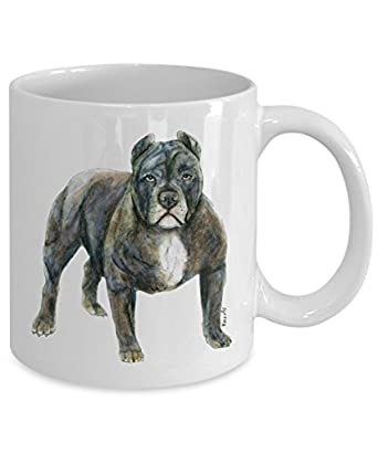 Blue Pit Bull Dog Mug - Style No.5 - Cool Ceramic Pitbull Coffee Cup (15oz)