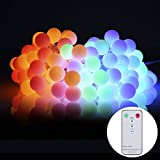 ProGreen Outdoor String Lights, 42.6ft 100 LED Waterproof Ball Lights, 8 Lighting Modes with Remote Control, 29V Safety Starry Fairy String lights for Garden,Christmas, Patio, Parties (Multi Color)