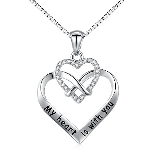 925 Sterling Silver Cz My Heart Is With You Infinity Love Heart Charm Necklace for Women, 18