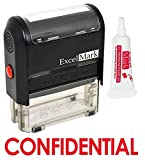 ExcelMark Confidential Self Inking Rubber Stamp - Red Ink with 5cc Refill Ink