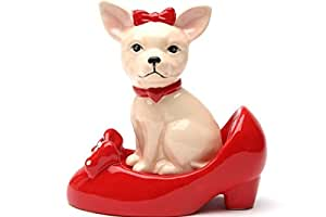 Chihuahua in High Heel Shoe Pumps Ceramic Magnetic Salt and Pepper Shaker SP Set