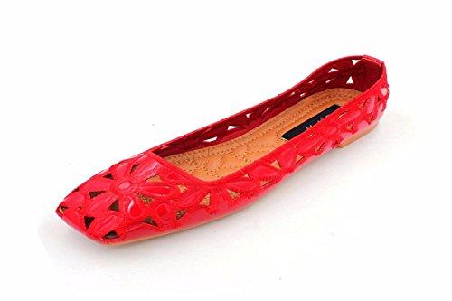 Kphy D't Creux Anti Confortable Femmes Pour Plat De Doux Tout drapant Gules Trent Femmes Respirant Broderie Fond cinq Chaussures Carr wzqrt0Pxz