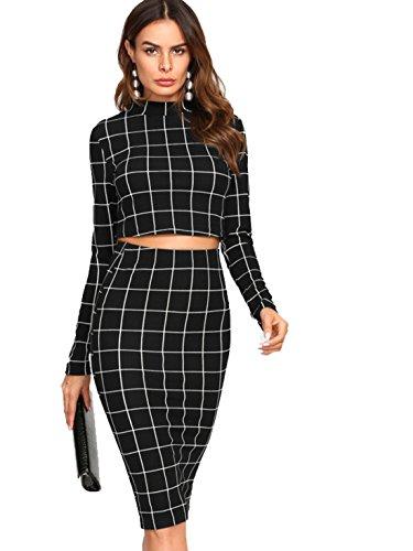 (MAKEMECHIC Women's Long Sleeve Crop Top Bodycon Midi Skirt 2 Piece Set Black XS)