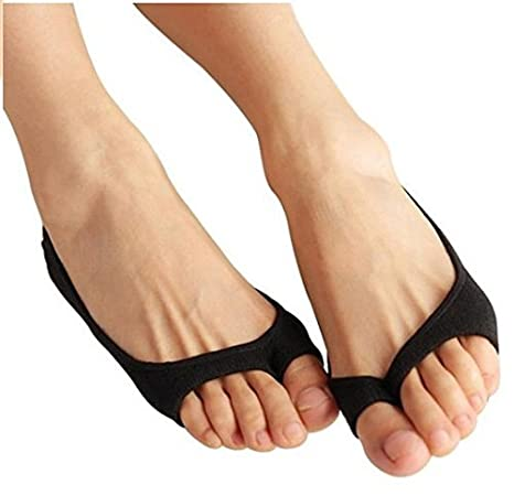 60219c79e92a1 Jern Cotton Ankle Open Toe Socks for Flats (Black): Amazon.in: Health &  Personal Care