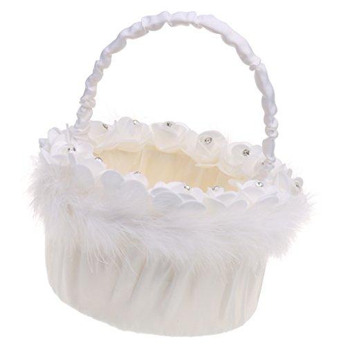 Jili Online Wedding Ceremony Flower Girl Basket Bridesmaid Feather Diamante Rose Round Flower Basket Petals Decoration