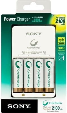 Cargador de pilas BCG-34HH4KN recargablea AA Sony NHAA4KN de 2000mAh y NI-MH. Incluye 4 pilas recargables Sony