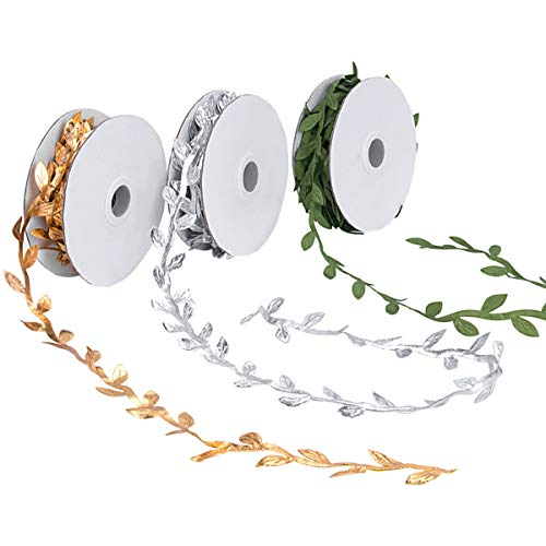 Kelife 3 Pack Leaf Ribbons,Gold Leaf Ribbons,Olive Green Leaf Ribbons,Silver Leaf Ribbons Trim Spool, Green Leaf Ribbon Trim Spool, Wreath Making Gift Wrapping Wedding Decoration 30Yd