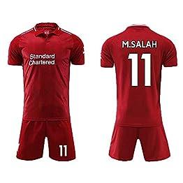 LIANGJK Maillot Uniforme de Football de Premier League Liverpool 11 Salah 9 Fermino Host