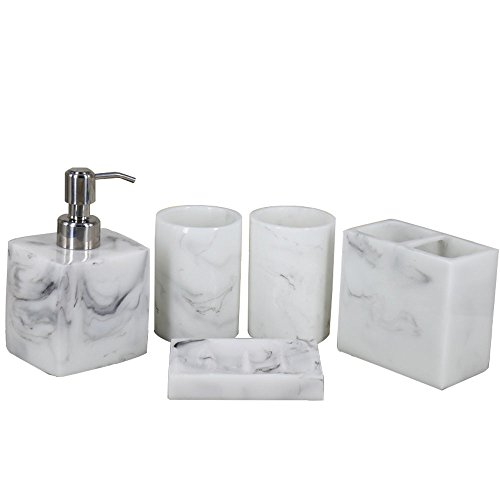5pcs Bathroom Accessory Set - Tumbler, Soap Dish, Liquid