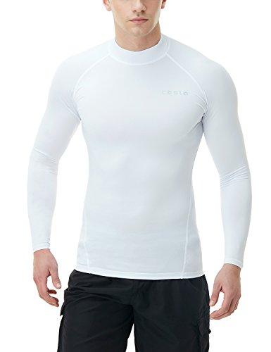 TSLA Men's UPF 50+ Long Sleeve Rashguard, Basic(msr19) - White, - Pool Long Sleeve