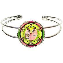 Solomons 4th Jupiter Seal for Wealth & Honor Silver Cuff Bracelet