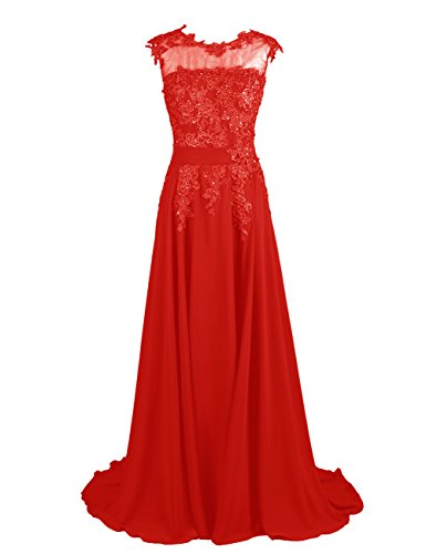Dresstells Long Bridesmaid Dress Applique Prom Dress Evening Party Gowns Red Size 2