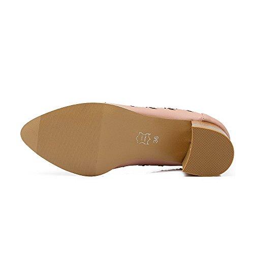 Ballerine Scarpe Donna Luccichio Tacco Odomolor Medio Rosa A Punta Chiodato q8wcZg6vP