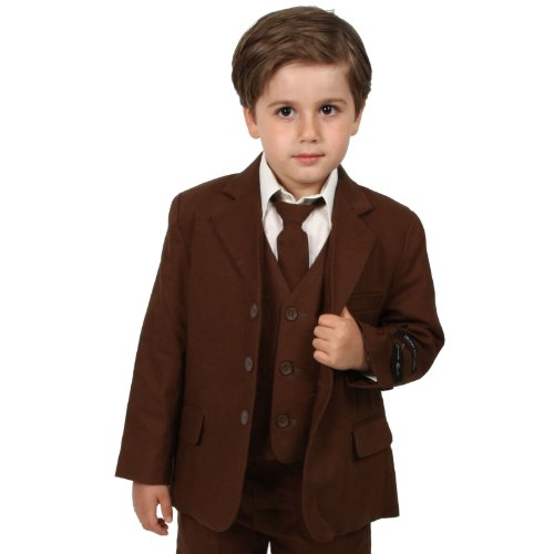 JL5026 BROWN Cotton/Linen Boys Summer Suit From Baby to Teen (12) Fully Lined Linen Suit