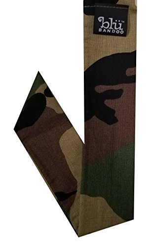 Blubandoo Water Activated Evaporative Neckbandoo Cool Tie. Value Army Camouflage Print. Over 150 Cooling Bandana Scarf Prints For Men And Women Heat Relief.