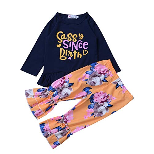 2PCS Newborn Baby Girl Sassy Since Birth Tops Long Sleeve Ruffles Shirt Flare Floral Pants Set Clothing