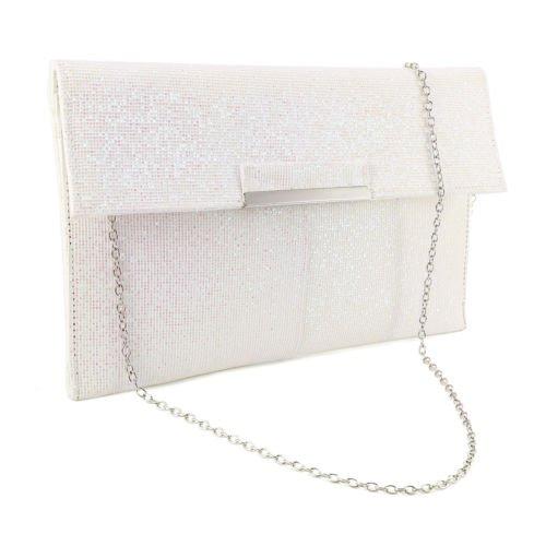 The Pecan Man White Metal Bar Flap Glitter Shimmer Lurex Women Clutch Soft Shoulder Bag Envelope