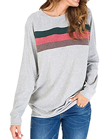 4159ee9ff911c Women's Casual Color Block Long Sleeve Pullover Tops Loose Lightweight  Tunic Sweatshirt Tops Shirts