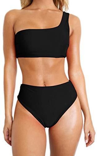 CinShein Women's Bikini One Shoulder Padded Push Up 2 Piece Swimsuits Mesh Stitching High Waisted Cheeky Bottom 051 Black - Shoulder Swimsuit One Black