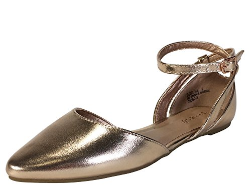 Women's Toe Strap with Open Shank Double Pu Gold Rose Bamboo Skimmer Ankle Almond dExqdf