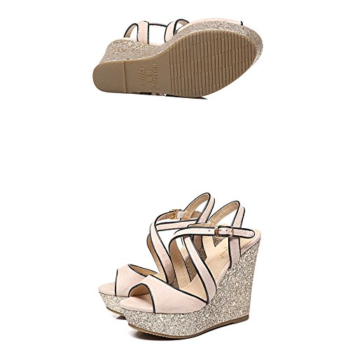 Women Woven For Summer cn35 uk3 12cm Sandals Slippers size Eu36 Slope Fashion Shoes Thick Women's Girls High 5 Heels Waterproof Bottom Nude Xw Sequins Bohemia Beach Platform xvttwHpRq