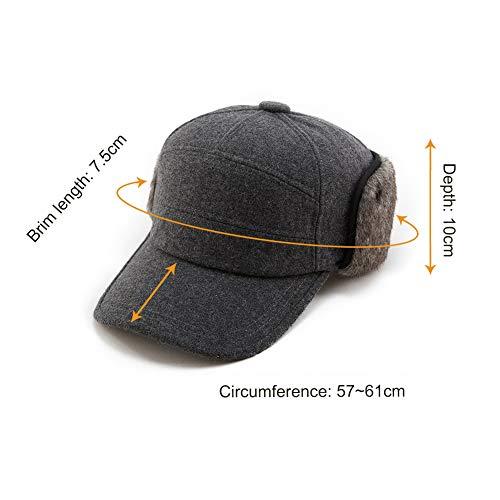 Jeff   Aimy Mens Womens Wool Baseball Cap Earflap Faux Fur Trapper Hat c4ff90ee9314