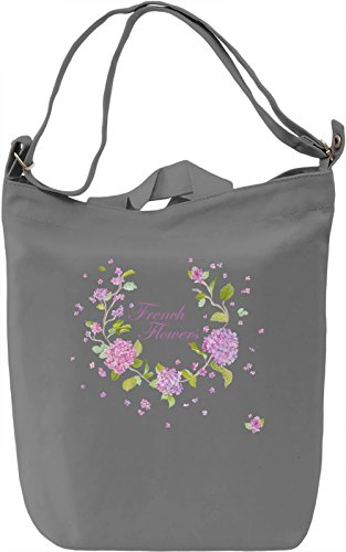 French flowers Borsa Giornaliera Canvas Canvas Day Bag| 100% Premium Cotton Canvas| DTG Printing|
