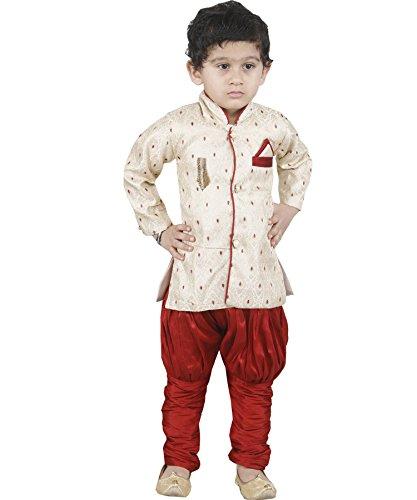 JBN Creation Boys Beige Banarasi Cotton Silk Kurta Pyjama With Jodhpuri Breeches (Size: 6-12 Months) by jbn creation