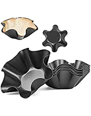 MQUPIN Set of 2/4/6/8 Non-Stick Fluted Tortilla Shell Pans Taco Salad Bowl Makers, Non-Stick Carbon Steel Baking Mold (8)