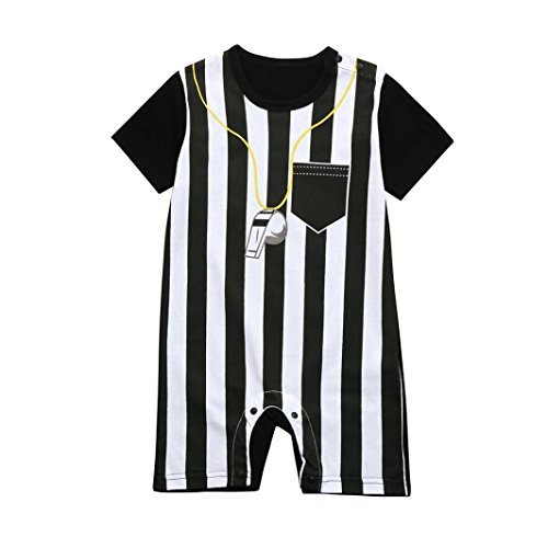 FEITONG Newborn Toddler Baby Boys Striped Football Soccer Referee Romper Jumpsuits (Black, 6-12M)