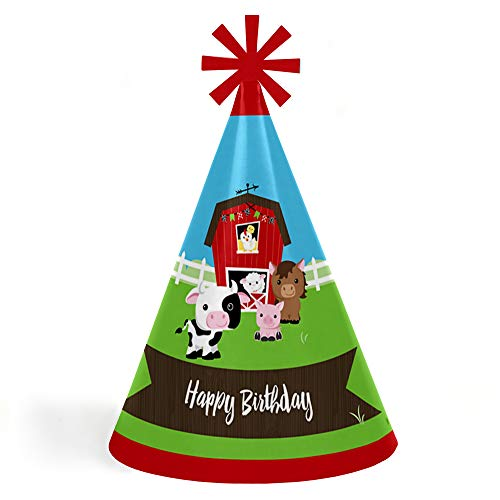 Farm Animals - Cone Happy Birthday Party Hats for Kids and Adults - Set of 8 (Standard Size) ()