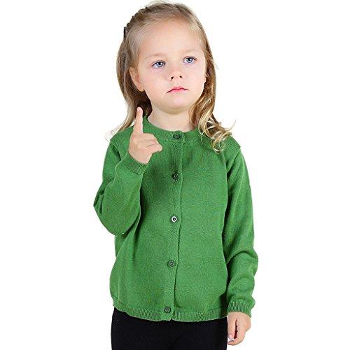Wennikids Baby Girls' Little Knit Cardigan Button Sweater for 12M-6T Small Green