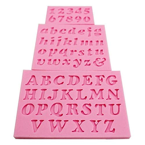 - 3PC/Set Number 0-9 Letters Silica Gel Mould Cake Decorating Tools DIY Silicone Mold Clay Resin Sugar Candy Fimo Sculpey GF308 - (Color: as Picture)