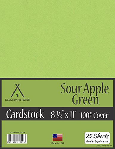 Sour Apple Green Cardstock - 8.5 x 11 inch - 100Lb Cover - 25 (Apple Cardstock)