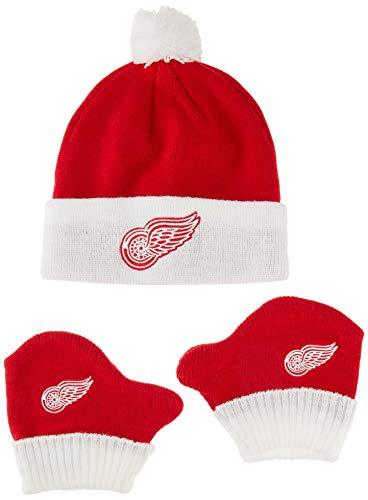 OTS NHL Detroit Wings Pow Knit Cap & Mittens Set, Red, Infant
