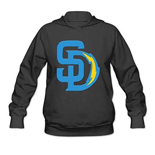 Hotboy19 Women's Long Sleeve Hoodie San Diego Sport Football Mixed Black Size - Farrow Clothing Women's