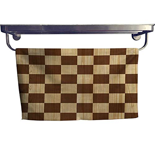 sunsunshine Checkered Fashion Towel Combination Empty Checkerboard Wooden Seem Mosaic Texture Image Chess Game Hobby Theme Cotton Hand Towels Set W 8