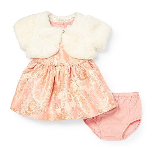 Girls Casual Faux Brocade Baby Children's Dress Fur Pink Rose Dust Dress Place The qtBTA