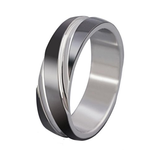 MoAndy Jewelry Stainless Steel Twill Men's Rings,Black/White,US Size 7(6MM)