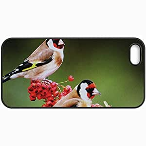 Customized Cellphone Case Back Cover For iPhone 5 5S, Protective Hardshell Case Personalized Birds Eating Berries Black